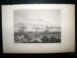 Holland Netherlands C1850's Antique Print. Rotterdam, willemskade
